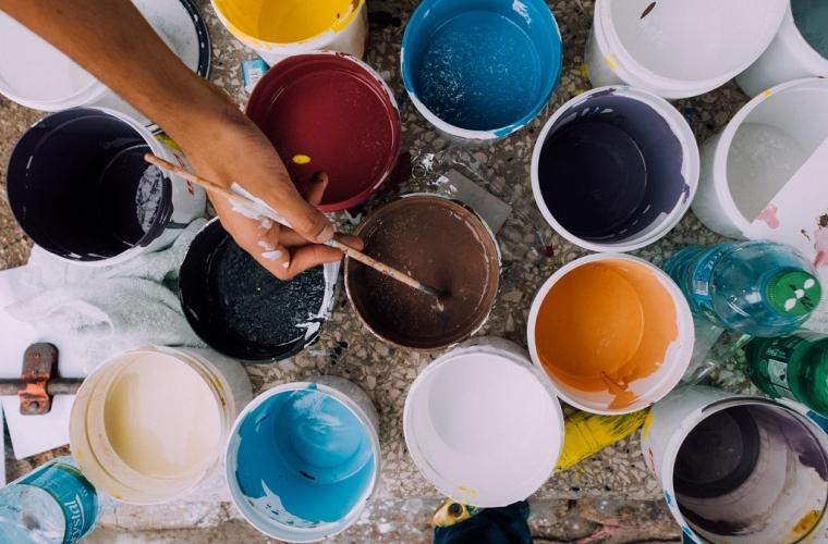 Different coloured pots of paint