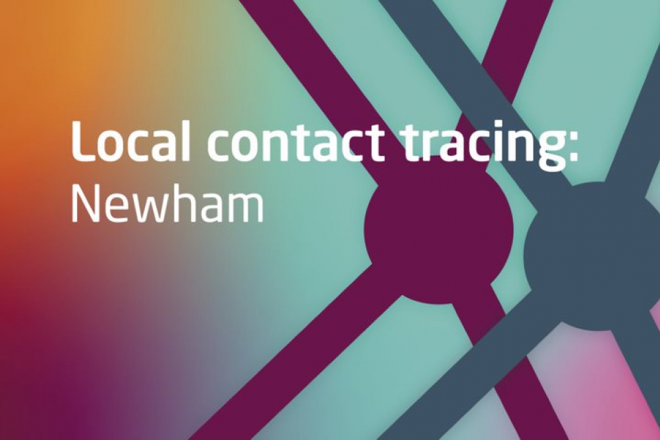 Text: Local contact tracing: Newham